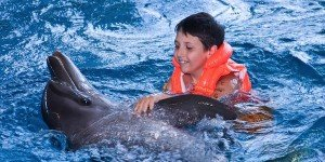 The boy floats in water with a dolphin