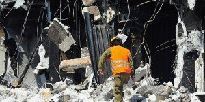 ISRAEL - NOVEMBER 11:  Search and rescue forces search through a fallen building for survivors during an exercise on November 11, 2010 in Tel Aviv, Israel.